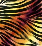 Dierlijke bontachtergrond gestreepte de waterverfhand getrokken achtergrond van het streep abstracte exotische bont De illustrati Royalty-vrije Stock Afbeeldingen