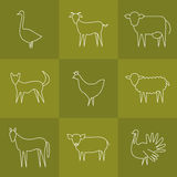 Dierlijke geplaatste pictogrammen Stock Fotografie