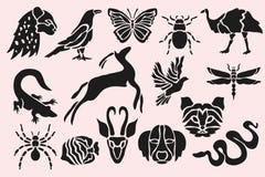 Dierlijke geplaatste symbolen Stock Afbeelding
