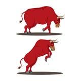 Dierlijke het Zijaanzichtvector van Red Bull Royalty-vrije Stock Foto's