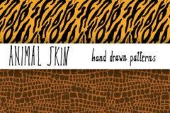 Dierlijke huidhand getrokken textuur, Vector naadloze patroonreeks, schetstekening clocodile en de texturen van de tijgerhuid Royalty-vrije Stock Fotografie