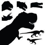 Dierlijke illustratie van de dinosaurus de vastgestelde aanbiddelijke zwarte kleur Stock Afbeeldingen
