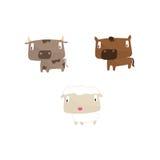 Dierlijke inzameling met inbegrip van koe, paard en schapen Vector Illustratie