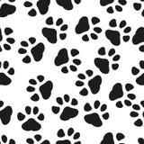 Dierlijke naadloze het patroonachtergrond van de pootdruk Bedrijfs vlakke vectorillustratie Hond of katten pawprint het patroon v stock illustratie