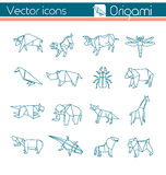 Dierlijke origami, Vectorpictogrammen Royalty-vrije Stock Foto's