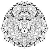 Dierlijke overzichtstekening Antistresskleuring in het hoofd van een mooie leeuw Stock Foto's