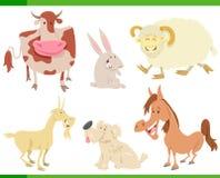 Dierlijke set van tekens van het beeldverhaal de gelukkige landbouwbedrijf Stock Afbeeldingen