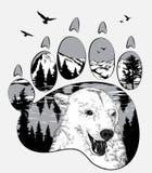 Dierlijke sleep Draag in de wildernis, dubbele blootstelling voor uw ontwerp, het wildconcept Stock Foto's