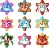 Dierlijke Ster Cat Dog Donkey Pig Cow Duck Icon Set Stock Foto