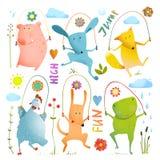 Dierlijke Vastgestelde Touwtjespringen Kleurrijke Inzameling vector illustratie