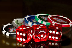 Dies and pokerchips Vegas Style Royalty Free Stock Image
