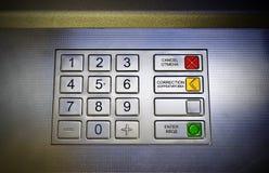 Diese Fotographie stellen einen ATM-Tastaturblock dar Stockfotografie