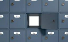 Diese Postkästen werden mit drei Digits nummeriert und alle sie werden geschlossen lizenzfreie abbildung