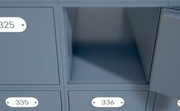 Diese Postkästen werden mit drei Digits nummeriert und alle sie werden geschlossen stock abbildung