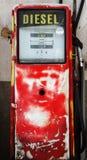 Diesel. Antique diesel gas pump in red color stock images