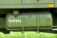 Diesel. Tank with diesel oil on a military vehicle stock image