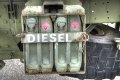 Diesel. Jerry cans. Cans with diesel Stock Photography