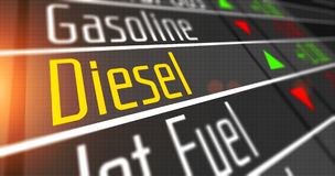 Diesel as commodity on the stock market. Prices for diesel and various commodities on the stock market stock photos