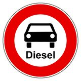Diesel auto en verbodsteken vector illustratie
