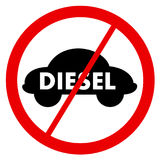 Diesel ban. Traffic sign is prohibiting to use vehicles and cars with diesel engine. Negative attitude towards diesel auto royalty free illustration
