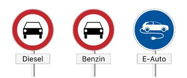 Diesel ban - traffic sign. Traffic sign prohibiting the use of diesel and gasoline vehicles and permitting the use of  e-cars only in German Stock Photos