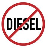 Diesel belemmerde rode de cirkelvector van het beperkingsteken royalty-vrije illustratie