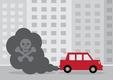 Diesel Car. A diesel cars toxic exhaust fumes containing a by a skull and cross bones stock illustration