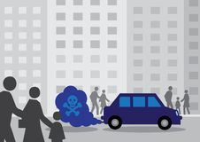 Diesel Car Fumes. A diesel cars toxic exhaust fumes containing a by a skull and cross bones royalty free illustration