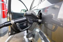 Diesel car refill. On the gas station Royalty Free Stock Image