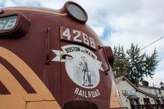 Diesel die van de V.S. locomotief bij een museum in New England, de V.S. wordt gezien stock afbeelding