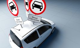 Diesel driving ban sign with german text stuck in car roof. A lot of Diesel driving ban sign with german text stuck in car roof 3d rendering vector illustration