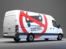 Diesel driving ban sign on transporter with german text. Big Diesel driving ban sign on transporter with german text 3d rendering Royalty Free Stock Photos