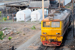 The diesel electric  locomotive. In railway yard Stock Images