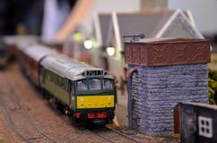 Diesel electric model railway train engine Royalty Free Stock Photo