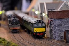 Diesel electric model railway train engine royalty free stock photos