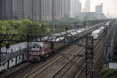 Diesel and Electric Passenger Trains, Shanghai Stock Photos