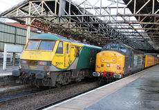 Diesel and electric railway locomotives at Crewe Royalty Free Stock Photos