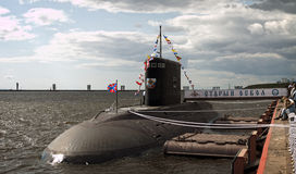 Diesel-electric Submarine. International Maritime Defence Show. 1-5 July 2015. Russia. Saint Petersburg Royalty Free Stock Images