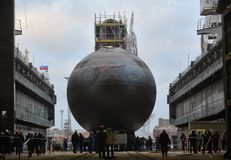 Diesel-electric submarine of the Kilo class. Launch of a diesel-electric submarine of the Kilo class at the Admiralteiskie Verfi plant in St. Petersburg stock photo