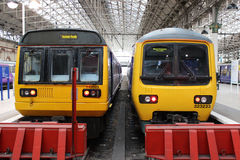 Diesel and electric trains Manchester Piccadilly Stock Image