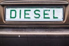 Diesel emissie valse kentekenplaat stock foto