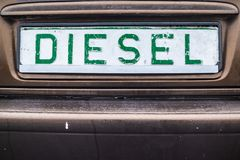 Diesel emission fake registration plate. At sports event in Poland stock photo