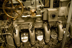 DIESEL ENGINE. Of the  U.S.S. Bowfin, a World War Two submarine Royalty Free Stock Photos