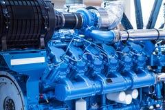 Diesel engine for boat. Blue color. Good for a design stock image