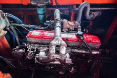 Diesel engine of passenger boat. Stock Photos