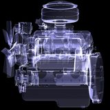 Diesel engine. X-ray render. Isolated on black background vector illustration