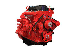 Diesel engine. Red diesel engine isolated on white background stock image