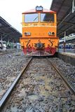 Diesel Engine of Red orange train Royalty Free Stock Photo