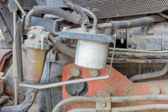 Diesel Engine. Rusty engine of the old model of agricultural tractor Stock Images