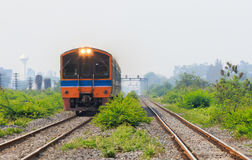 Diesel engine trains running on track ways Stock Image